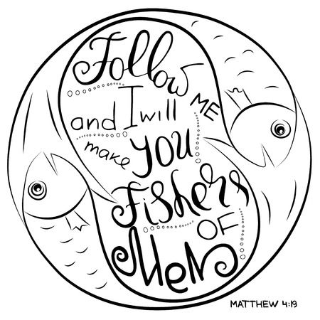 Follow me. Bible lettering. Ichthys is a symbol of fish. The ancient acronym of the name of Jesus Christ, Messiah, God in Christian religion.  Vector design
