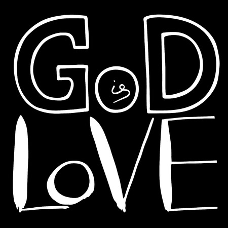 God is love. Bible lettering.  Handwritten text  about Jesus Christ  Vector design Illustration