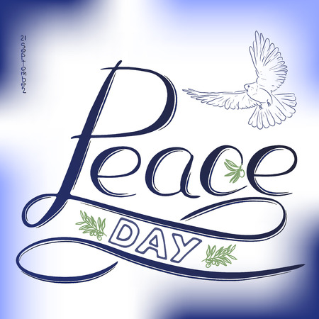 Handwritten text Peace day, Modern lettering. Dove and olive branch.  Great for Greeting card, emblem and banner, Vector design
