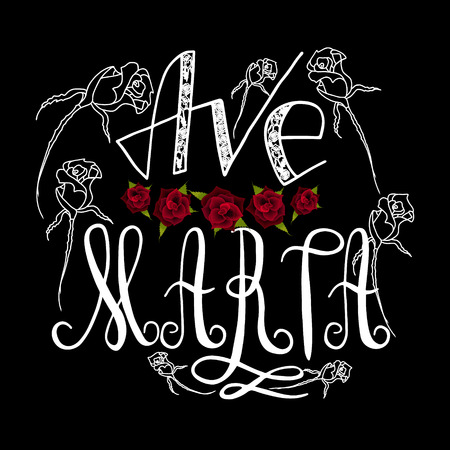 Ave Maria. Handwritten text of the name of the  Virgin Mary mother of Christ. Red rose. Vector design. 向量圖像