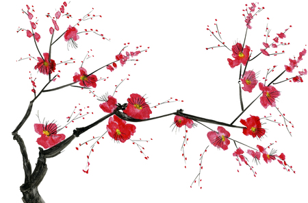 A branch of a blossoming tree. Pink and red stylized flowers of plum mei, wild apricots and sakura . Watercolor and ink illustration in style sumi-e, u-sin. Oriental traditional painting. Stok Fotoğraf