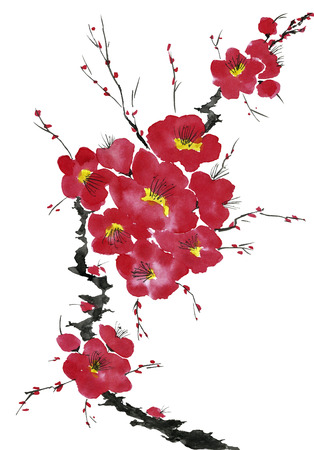 A branch of a blossoming tree. Pink and red stylized flowers of plum mei, wild apricots and sakura . Watercolor and ink illustration in style sumi-e, u-sin. Oriental traditional painting. 스톡 콘텐츠