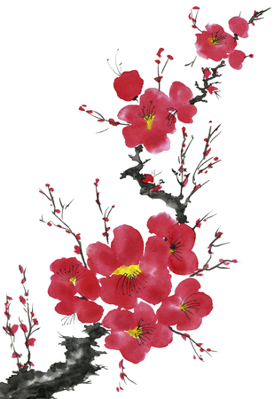 A branch of a blossoming tree. Pink and red stylized flowers of plum mei, wild apricots and sakura . Watercolor and ink illustration in style sumi-e, u-sin. Oriental traditional painting. Фото со стока