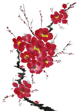 A branch of a blossoming tree. Pink and red stylized flowers of plum mei, wild apricots and sakura . Watercolor and ink illustration in style sumi-e, u-sin. Oriental traditional painting. Reklamní fotografie