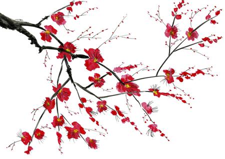 Gałąź kwitnącego drzewa. Różowo-czerwone stylizowane kwiaty dzikiego miodu pitnego, dzikich moreli i sakury. Ilustracja akwarela i tusz w stylu sumi-e, u-sin. Tradycyjne malarstwo orientalne.