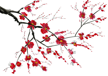 A branch of a blossoming tree. Pink and red stylized flowers of wild mead, wild apricots and sakura. Watercolor and ink illustration in style sumi-e, u-sin. Oriental traditional painting.
