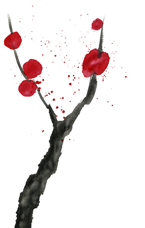 Abstract branch of a blossoming tree. Pink and red stylized flowers of wild mead, wild apricots and sakura. Watercolor and ink illustration in style sumi-e, u-sin. Modern oriental painting. 스톡 콘텐츠