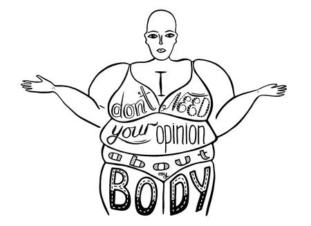 Siluetta di una donna. Lo slogan del femminismo radicale. Non ho bisogno della tua opinione sul mio corpo. Design vettoriale per emblema, t-shirt, adesivo, poster