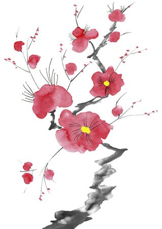 A branch of a blossoming tree. Pink and red stylized flowers of plum mei, wild apricots and sakura . Watercolor and ink illustration in style sumi-e, u-sin. Oriental traditional painting. Imagens