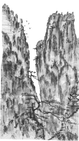 Mountain landscape in the fog.  Watercolor and ink illustration in style sumi-e, u-sin, go-hua. Oriental traditional painting. Monochrome