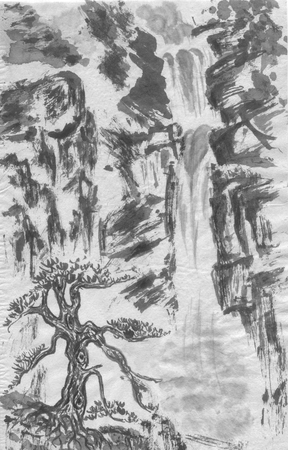 Mountain landscape, waterfall and chinese pine.  Watercolor and ink illustration in style sumi-e, u-sin, go-hua. Oriental traditional painting. Monochrome Reklamní fotografie