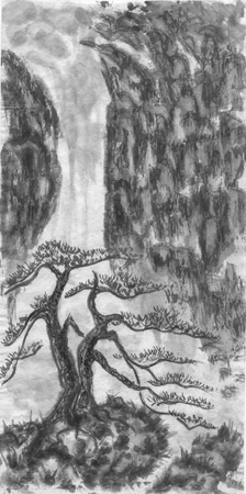 Mountain landscape, waterfall and chinese pine.  Watercolor and ink illustration in style sumi-e, u-sin, go-hua. Oriental traditional painting. Monochrome Stock Photo