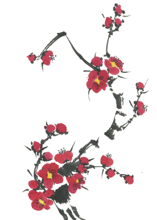 A branch of a blossoming sakura. Pink and red stylized flowers of plum mei and  wild cherry . Watercolor and ink illustration of tree in style sumi-e, go-hua,  u-sin. Oriental traditional painting.