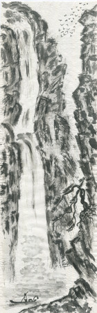 Mountain landscape, waterfall, Chinese pine and fisherman.  Watercolor and ink illustration in style sumi-e, u-sin, go-hua. Oriental traditional painting. Monochrome