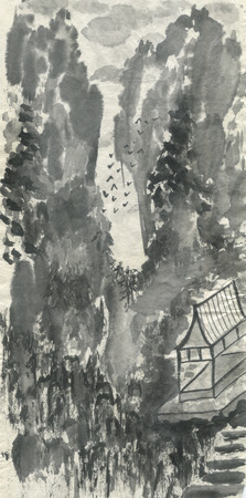 Pagoda and mountain landscape in a fog .  Watercolor and ink illustration in style sumi-e, u-sin, go-hua. Oriental traditional painting. Monochrome