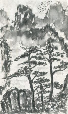 Chinese pines and mountain landscape in a fog .  Watercolor and ink illustration in style sumi-e, u-sin, go-hua. Oriental traditional painting. Monochrome Stock Photo