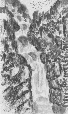 Mountain landscape, waterfall and pagoda.  Watercolor and ink illustration in style sumi-e, u-sin, go-hua. Oriental traditional painting. Monochrome