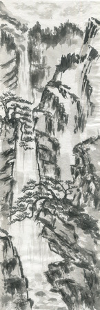 Mountain landscape, waterfall and chinese pines.  Watercolor and ink illustration in style sumi-e, u-sin, go-hua. Oriental traditional painting. Monochrome