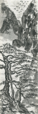 Chinese pines and mountain landscape in a fog .  Watercolor and ink illustration in style sumi-e, u-sin, go-hua. Oriental traditional painting. Monochrome Reklamní fotografie
