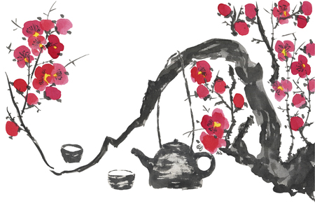 Chinese tea ceremony and a branch of a blossoming sakura. Pink and red stylized flowers of plum mei and wild cherry. Watercolor sum ink-on, go-hua, u-sin. Oriental traditional painting.