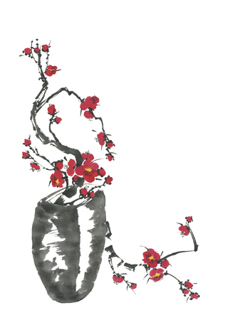 A branch of cherry blossoms in a vase. Pink and red stylized flowers of plum mei and wild cherry. Watercolor sum ink-on, go-hua, u-sin. Oriental traditional painting.