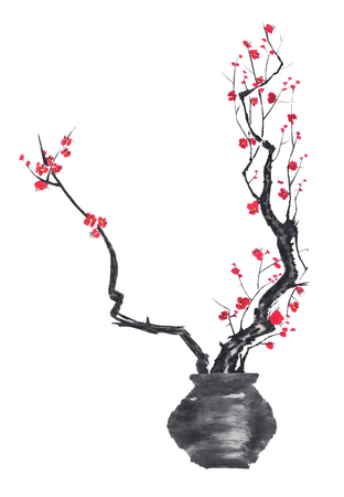 A branch of cherry blossoms in a vase. Pink and red stylized flowers of plum mei and wild cherry. Watercolor sum ink-on, go-hua, u-sin. Oriental traditional painting. Archivio Fotografico - 122062380
