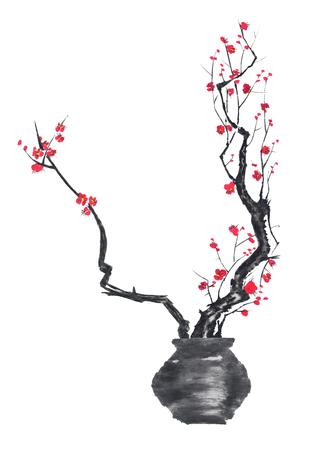 Ein Zweig von Kirschblüten in einer Vase. Rosa und rote stilisierte Blüten von Pflaumenmei und Wildkirsche. Aquarellsumme Tinte auf, go-hua, u-sin. Orientalische traditionelle Malerei. Standard-Bild
