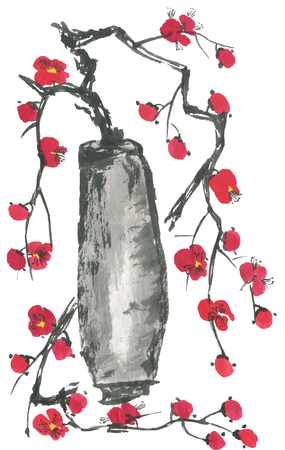A branch of cherry blossoms in a vase. Pink and red stylized flowers of plum mei and  wild cherry . Watercolor and ink illustration of tree in style sumi-e, go-hua. Oriental traditional painting 스톡 콘텐츠
