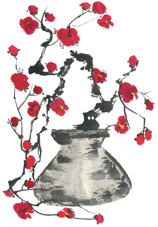 A branch of cherry blossoms in a vase. Pink and red stylized flowers of plum mei and  wild cherry . Watercolor and ink illustration of tree in style sumi-e, go-hua. Oriental traditional painting Banco de Imagens