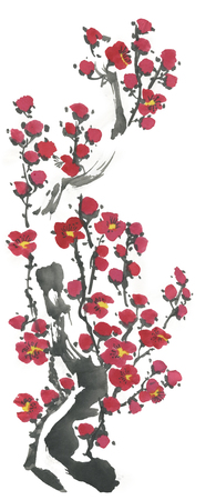 A branch of cherry blossoms in a vase. Pink and red stylized flowers of plum mei and wild cherry. Watercolor and ink illustration of a sumi-e, go-hua. Oriental traditional painting