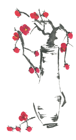 A branch of cherry blossoms in a vase. Pink and red stylized flowers of plum mei and  wild cherry . Watercolor and ink illustration of tree in style sumi-e, go-hua. Oriental traditional painting Reklamní fotografie