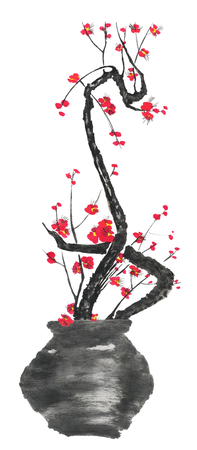 A branch of cherry blossoms in a vase. Pink and red stylized flowers of plum mei and  wild cherry . Watercolor and ink illustration of tree in style sumi-e, go-hua. Oriental traditional painting Zdjęcie Seryjne
