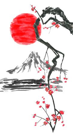 Oriental  traditional sumi-e painting. Fuji mountain, blossom sakura,  sunset. Japan sun. Watercolor and ink illustration