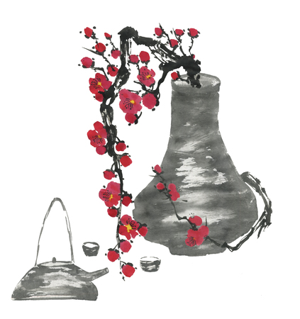 Chinese tea ceremony and a branch of a blossoming sakura.  Pink and red stylized flowers of plum mei and  wild cherry . Watercolor and ink illustration  in style sumi-e, go-hua. Oriental painting