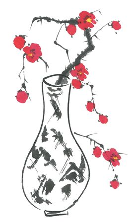 A branch of cherry blossoms in a vase. Pink and red stylized flowers of plum mei and  wild cherry . Watercolor and ink illustration of tree in style sumi-e, go-hua. Oriental traditional painting Imagens