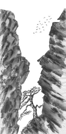 Mountain landscape and chinese pine.  Watercolor and ink illustration in style sumi-e, u-sin, go-hua. Oriental traditional painting. Monochrome