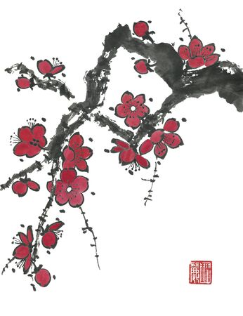 A branch of a blossoming sakura. Pink and red stylized flowers for me and wild cherry. Sumi-e, go-hua, u-sin. Stylized print with hieroglyphs.