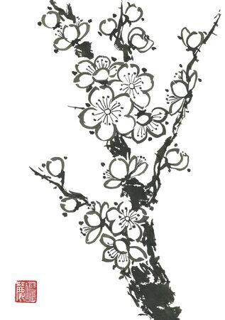 A branch of a blossoming sakura. Mead and wild cherry. Sumi-e, go-hua, u-sin. Stylized print with hieroglyphs.