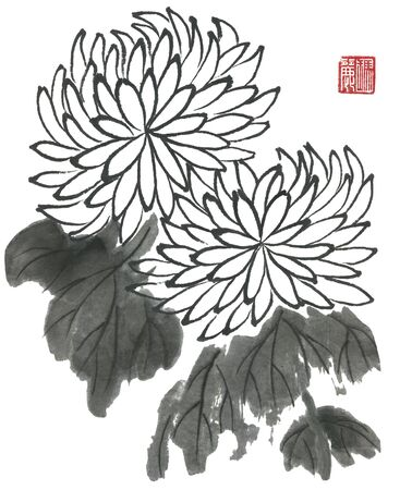 Chrysanthemum as a symbol of Japan and China. Contour flowers and leaves. Traditional oriental ink painting sumi-e, u-sin, go-hua. Stylized red print with hieroglyphs.