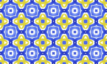 Antique portuguese tiles. Blue and yellow Azulejos ceramic. Spanish pottery.
