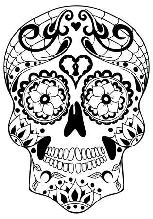Mexican holiday Day of the Dead Celebration Festival and Halloween. Sugar skull for poster, card, print, emblem, sign, tattoo, t-shirt. background. Vector illustration Dia de los Muertos.