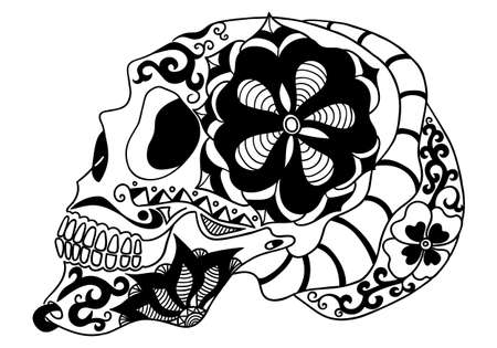 Mexican holiday Day of the Dead Celebration Festival and Halloween. Sugar skull for poster, card, print, emblem, sign, tattoo, t-shirt. background. Vector illustration Dia de los Muertos. Vektoros illusztráció