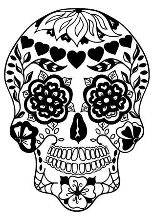 Mexican holiday Day of the Dead Celebration Festival and Halloween. Sugar skull for poster, card, print, emblem, sign, tattoo, t-shirt. background. ... Black and white vector illustration