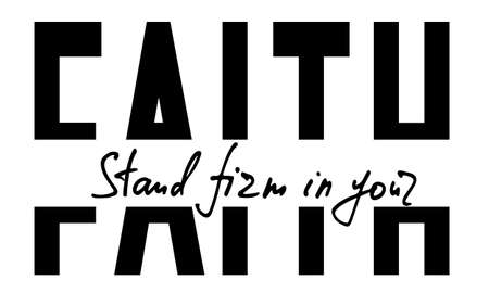 Hand lettering wth Bible quote Stand firm in your faith. Modern brush calligraphy. Print for poster, t-shirt, bag, cups, card, flyer, sticker, badge. Vector design. Isolated on white background.