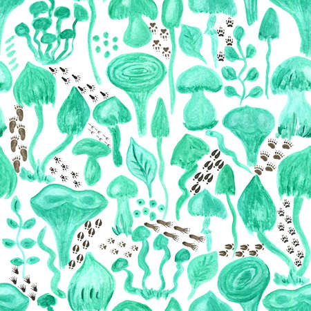 Turquoise watercolor mushrooms and animal footprints seamless pattern. Hand Illustration for creating fabrics, wallpapers, gift wrapping paper, invitations, textile, scrapbooking. Isolated on white background.