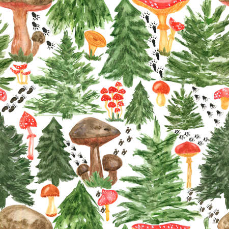 Colorful watercolor trees, animal footprints and mushrooms seamless pattern. Hand Illustration for creating fabrics, wallpapers, gift wrapping paper, invitations, textile, scrapbooking.