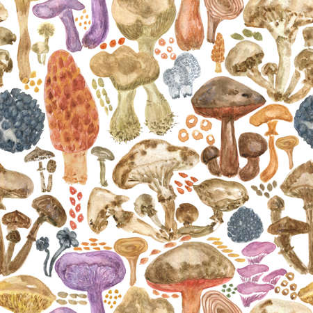Colorful watercolor mushrooms seamless pattern. Hand Illustration for creating fabrics, wallpapers, gift wrapping paper, invitations, textile, scrapbooking. Isolated on white background.