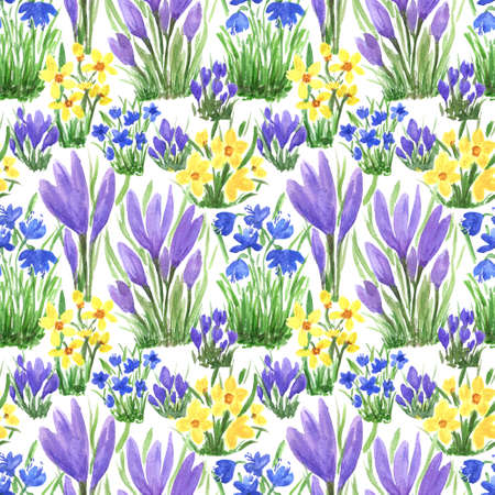 Waterclor colorful seamless pattern of primerose flowers. Hand Illustration for creating fabrics, textile, decoupage, wallpapers, print, gift wrapping paper, invitations, textile, scrapbooking. Isolated on white background.