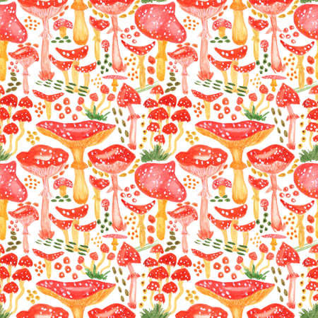 Seamless watercolor background with mushrooms. Pattern for creating fabrics, wallpapers, gift wrapping paper, invitations, textile, scrapbooking. Isolated on white background.