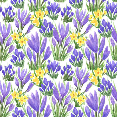Waterclor colorful seamless pattern of spring flowers. Hand Illustration of primrose for creating fabrics, textile, decoupage, wallpapers, print, gift wrapping paper, invitations, textile.